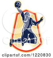 Clipart Of A Retro Basketball Player Jumping For A Slam Dunk Over A Sunny Crest Royalty Free Vector Illustration