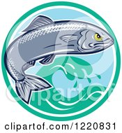 Clipart Of An Aggressive Sardine Fish Jumping Over Waves In A Circle Royalty Free Vector Illustration by patrimonio