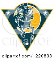 Clipart Of A Retro Jockey Racing A Horse On A Triangle With Stars And Sunshine Royalty Free Vector Illustration