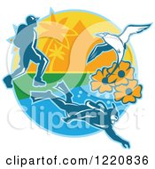 Clipart Of A Hiker Scuba Diver And Red Billed Tropicbird With Black Eyed Susan Flowers On An Island Royalty Free Vector Illustration by patrimonio