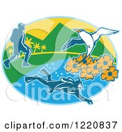 Clipart Of A Hiker Scuba Diver And Red Billed Tropicbird With Black Eyed Susan Flowers On An Island In An Oval Royalty Free Vector Illustration