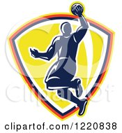 Clipart Of A Retro Basketball Player Jumping For A Slam Dunk Over A Yellow Shield Royalty Free Vector Illustration