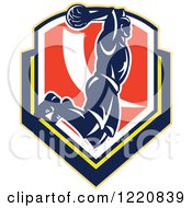 Clipart Of A Retro Basketball Player Jumping For A Slam Dunk Over A Shield Royalty Free Vector Illustration