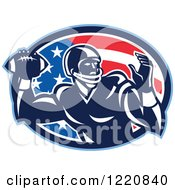 Clipart Of A Gridiron American Football Quarterback Player Throwing Over A Flag Oval Royalty Free Vector Illustration