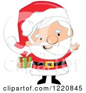 Clipart Of Santa Claus Holding A Christmas Present And Waving Royalty Free Vector Illustration