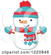 Cute Christmas Snowman Wearing A Hat Mittens And Scarf