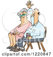 Clipart Of A Man With A Question Sitting By A Lady And Raising His Hand Royalty Free Vector Illustration