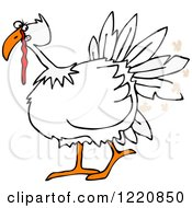 Clipart Of A White Turkey Bird Farting Royalty Free Vector Illustration