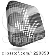 Clipart Of A Reflective Grayscale Down Arrow Icon Made Of Dots Royalty Free Vector Illustration