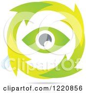 Clipart Of A Green Eye In A Circle Of Arrows With A Water Droplet Royalty Free Vector Illustration