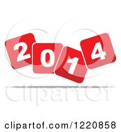 Clipart Of Red And White Floating New Year 2014 Squares Royalty Free Vector Illustration by Andrei Marincas