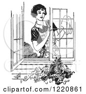 Clipart Of A Black And White Retro Woman Washing Windows Royalty Free Vector Illustration