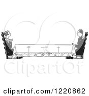 Clipart Of A Black And White Retro Housewife Across A Long Table From Her Husband Royalty Free Vector Illustration