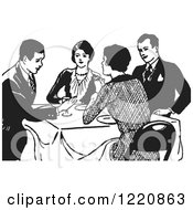 Black And White Retro Couples Talking At A Dinner Table