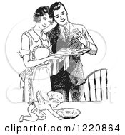 Clipart Of A Black And White Retro Cherub Chef And Wife Serving Her Husband Fresh Cookies Royalty Free Vector Illustration by Picsburg