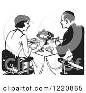 Clipart Of A Black And White Retro Couple Eating A Meal Royalty Free Vector Illustration