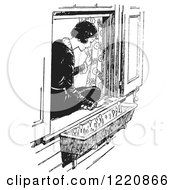 Clipart Of A Black And White Retro Woman Sitting In A Window Sill And Looking At Flowers Royalty Free Vector Illustration