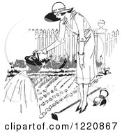 Clipart Of A Black And White Retro Woman Watering A Garden Royalty Free Vector Illustration