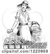 Clipart Of A Black And White Retro Woman Shopping For Produce Royalty Free Vector Illustration