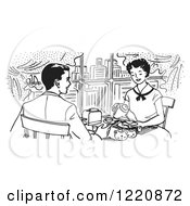 Clipart Of A Black And White Happy Retro Couple Dining In A City Restaurant Royalty Free Vector Illustration