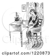 Clipart Of A Black And White Retro Woman Reading A Book At A Desk Royalty Free Vector Illustration by Picsburg