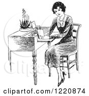 Clipart Of A Black And White Retro Woman Reading At A Desk Royalty Free Vector Illustration by Picsburg