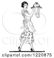 Clipart Of A Black And White Retro Woman Carrying Plum Pudding On A Plate Royalty Free Vector Illustration