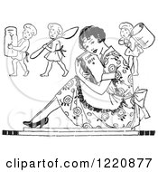 Clipart Of A Black And White Retro Housewife Sitting With A Cook Book And Cherub Chefs Royalty Free Vector Illustration