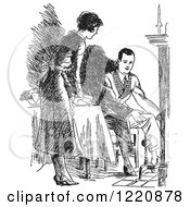 Clipart Of A Black And White Retro Housewife Setting A Fireside Table For Her Husband Royalty Free Vector Illustration
