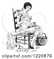 Clipart Of A Black And White Retro Chef Angel Helping A Woman Peel Apples Royalty Free Vector Illustration