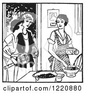 Clipart Of A Black And White Retro Woman Sorting Berries And Friends Asking Her To Play Tennis Royalty Free Vector Illustration