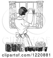 Clipart Of A Black And White Retro Housewife Canning Foods Royalty Free Vector Illustration