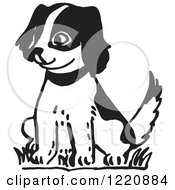 Clipart Of A Happy Puppy Sitting In Black And White Royalty Free Vector Illustration
