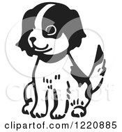 Clipart Of A Happy Sitting Puppy In Black And White Royalty Free Vector Illustration