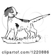 Clipart Of An Alert Dog In Black And White Royalty Free Vector Illustration by Picsburg