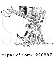 Clipart Of A Dark Barking At An Animal Trap In A Tree In Black And White Royalty Free Vector Illustration