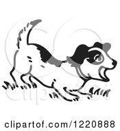 Clipart Of A Barking Puppy In Black And White Royalty Free Vector Illustration