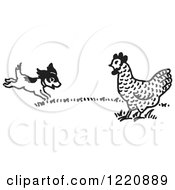 Clipart Of A Happy Puppy And Chicken Black And White Royalty Free Vector Illustration