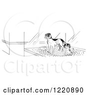 Clipart Of Puppies In A Pet Store Window In Black And White Royalty Free Vector Illustration
