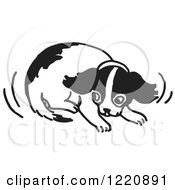 Clipart Of A Cowering Puppy In Black And White Royalty Free Vector Illustration