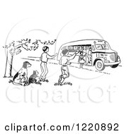 Raccoon And Dog Watching Children Board A School Bus In Black And White