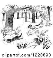 Clipart Of A Dog Chasing Weasels And Chipmunks And Children Watching Black And White Royalty Free Vector Illustration by Picsburg