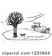 Clipart Of A Dog Exploring Property In The Winter In Black And White Royalty Free Vector Illustration by Picsburg