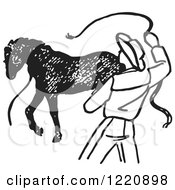 Clipart Of A Black And White Cowboy Training A Horse 2 Royalty Free Vector Illustration