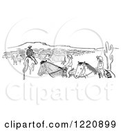 Clipart Of Cowboys And Cattle Royalty Free Vector Illustration
