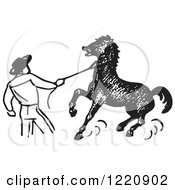 Clipart Of A Black And White Cowboy Training A Horse Royalty Free Vector Illustration by Picsburg #COLLC1220902-0181