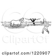 Clipart Of A Black And White Girl Taking An Apple To A Horse Royalty Free Vector Illustration by Picsburg