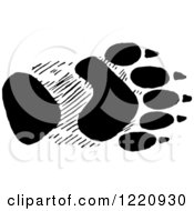 Clipart Of Black And White A Black And White Bear Front Foot Track Royalty Free Vector Illustration by Picsburg