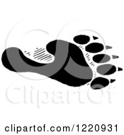 Clipart Of Black And White A Black And White Bear Hind Foot Track Royalty Free Vector Illustration by Picsburg