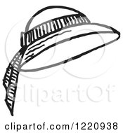 Clipart Of A Black And White Ladies Sun Hat Royalty Free Vector Illustration